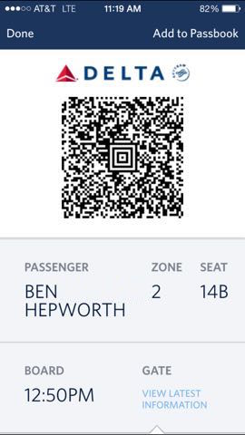 Digital Boarding Pass On Your IPhone Using Passbook